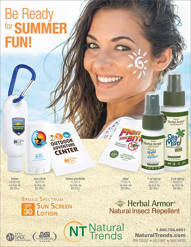 Get ready for Summer Fun! Select Broad Spectrum SPF 30 Sun Screen from Natural Trends.